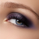 Eye makeup. Beautiful eyes make-up. Holiday makeup detail. Long Stock Image