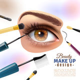Eye Makeup Blurred Background Poster. Applying eye makeup beauty tips pictorial infographic poster with putting eyelid base and eyeliner blurred background Stock Photos