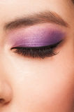 Eye with makeup. Close-up image of young asian woman eye with bright violet makeup Royalty Free Stock Photo