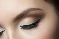 Eye Makeup. Closeup of beautiful woman eye with makeup, closed eyes Royalty Free Stock Photography