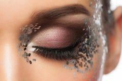 Eye Makeup. Closeup of Beautiful Woman Eye with Glitter Makeup. Fancy Makeup, False Eyelashes Stock Image
