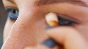 Eye makeup closeup. Applying eye shadows with brush. beauty, lifestyle stock video