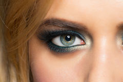 Eye makeup. Closeup image of beautiful woman eye with fashion makeup royalty free stock photo