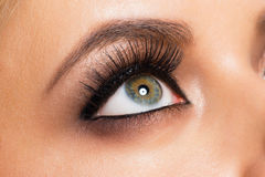 Eye makeup. Closeup image of beautiful woman eye with fashion bright makeup Royalty Free Stock Images