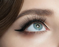 Eye makeup. Closeup of woman eye with beautiful makeup with black eyeliner and long eyelashes Stock Photos