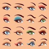 Eye Makeup Icons Set Royalty Free Stock Images