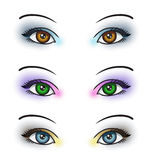 Eye Makeup. Illustration depicting 3 sets of eyes with different colored eye makeup Stock Photography