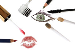 Eye makeup tools Royalty Free Stock Image