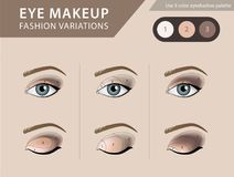 Eye makeup tutorial, eyeshadow vector template Stock Photos