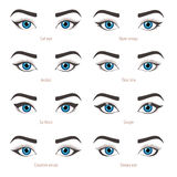 Eye makeup types. Eyeliner shape tutorial. Vector set with capti stock illustration