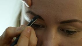 Eye makeup woman applying eyeshadow powder. Stylist is doing make up for female by eyeliner stock footage