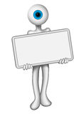 Eye man holding a blank sign Royalty Free Stock Images