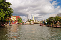 Eye on Melaka and arch bridge over the river near Jambatan Old B Royalty Free Stock Images