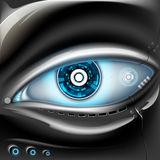 Eye of metal robot. Futuristic interface. Stock  illustration Royalty Free Stock Photos