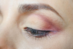 Eye model with makeup close-up Royalty Free Stock Images