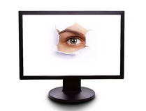 Eye in the monitor Stock Images
