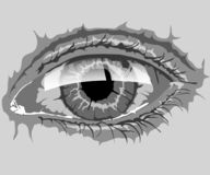 Eye in monochrome technique with highlights of light vector illustration