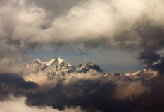 Sangdachhe Himal peak. Himalayas ridge surrounded by clouds. royalty free stock photos