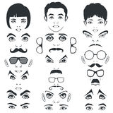 Eye mustache lips and hair, face parts, head character Royalty Free Stock Images