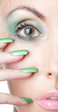 Eye and nails of the woman close up. Woman with a make-up  and  long nails Royalty Free Stock Photo