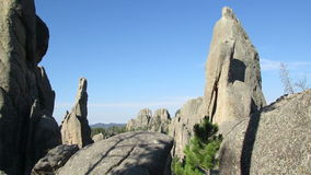 The Eye of the Needle. Rock formation along the needles highway in the Black Hills of South Dakota stock footage