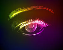 Eye in the neon-style on a dark background Royalty Free Stock Photos