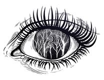 Eye night tree twigs scenery with moon, forest sky stock illustration