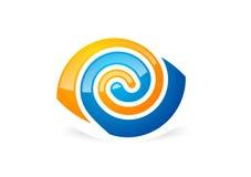 Eye o logotipo da visão, símbolo ótico do círculo, ilustração do vetor do ícone do redemoinho da esfera Imagem de Stock