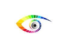 Eye o logotipo, o símbolo ótico, os vidros ícone da forma, o tipo visual da beleza, o gráfico luxuoso da visão, e o projeto de co ilustração royalty free