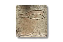 Free Eye Of Horus, Also Known As Wadjet, Wedja Or Udjat. Polychromatic Sandstone Relief Stock Image - 182702341