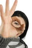 eye ok sign woman Стоковое Фото