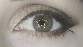 Eye opening ring star light reflection stock footage