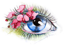 Eye with orchid Stock Photography