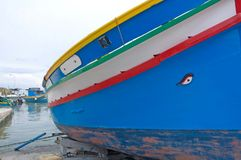 Malta, Marsaxlokk: Eye of Osiris, symbol of high-colored fishermen boats Stock Photo