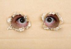 Eye osservando dall'i fori in un cartone Immagine Stock