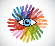 Eye over a color hands diversity concept Stock Photo