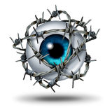 Eye Pain. Medical concept as a human vision organ wrapped with sharp metal barb or barbed wire as a symbol for glaucoma or restricted visual access and witness Stock Image