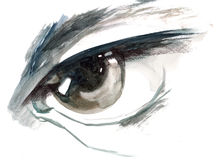 Eye. Painting of scary eyes of predator Stock Images