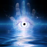 Eye. In palm of hand Royalty Free Stock Images