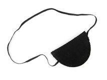 Eye Patch. Isolated black eye patch with elastic band on white stock photo