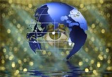 Eye peers through earth Stock Photography
