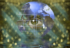 Eye peers through earth Royalty Free Stock Photography
