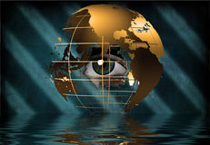 Eye peers through earth Stock Photo