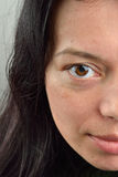Eye picture - female brown eyes looking at the camera. Portrait Royalty Free Stock Photos