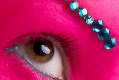 Pink skin and blue diamonds Stock Photography