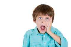 Eye popping and jaw dropping of a surprised kid Stock Photos