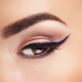 Eye with professional make up close shooting Stock Photo