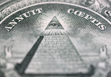 Eye of Providence. Close up of Eye of Providence on one hundred dollars banknote Royalty Free Stock Photography