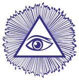 Eye Of Providence or All Seeing Eye Of God - famou. S mason symbol, vector illustration Stock Photography