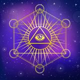Eye of Providence. All seeing eye inside triangle pyramid. vector illustration